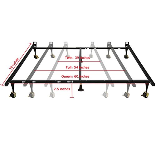 langria adjustable heavy duty metal bed frame 1000 lbs capacity 6 leg support 7 5 inch. Black Bedroom Furniture Sets. Home Design Ideas
