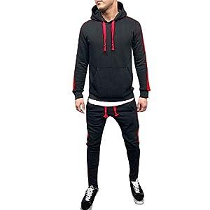 Clearance! WuyiMC Men's 2 Piece Patchwork Hoodie Sweatshirt Top& Pants Slim Fit Jogging Track Suit