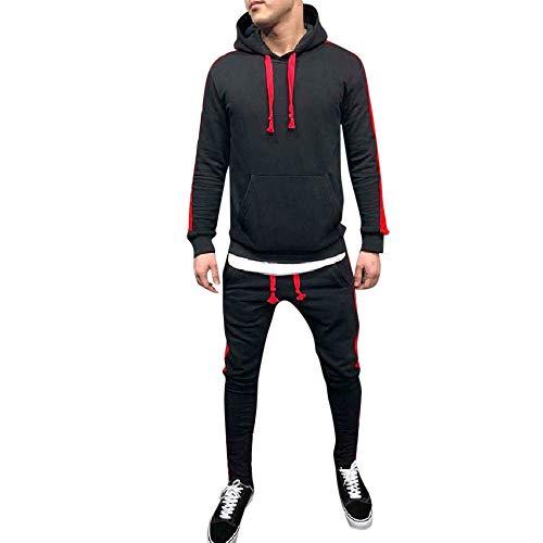 Limsea Men's Autumn Winter Patchwork Hoodie Sweatshirt Top Pants Sets Suit Tracksuit(Black,M) by Limsea Men Blouses (Image #6)