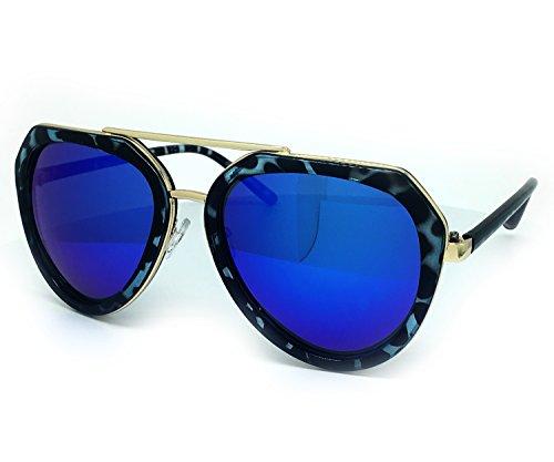 O2 Eyewear 6076 Premium Retro Womens Mens Mirror Funky Fashion Revo Candy Flat Top Aviator Sunglasses (Premium, - Lenses Rb3183