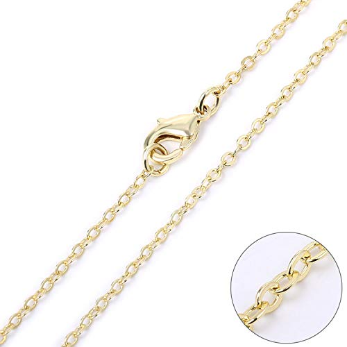 Wholesale 12 PCS Gold Plated Brass Flat Cable Chain Finished Necklace Chains Bulk for Necklace Making (20 Inch(2 MM))