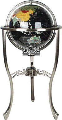37'' Floor Standing Black Onyx Gemstone Globe with Silver Stand
