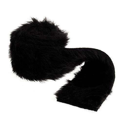 Floristrywarehouse Faux Fur Ribbon Trim 3 Inches x 6.6ft Roll Black