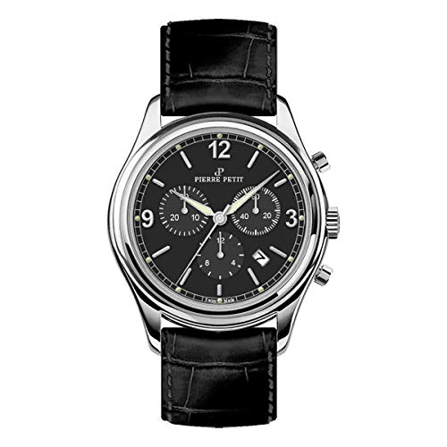 Pierre Petit P-836A Swiss Chronograph Leather-Band Watch w/Date - Silver/Black