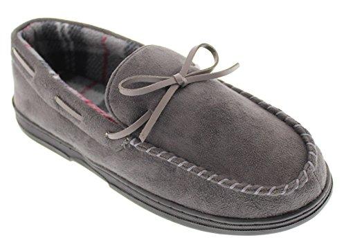 GOLDTOE Gold Toe Men's Faux Suede Flannel Plaid Fleece Shearling Lined Slip-On Moccasin Slipper Loafer Shoe (9.5/10.5, Grey) (Slippers Flannel)