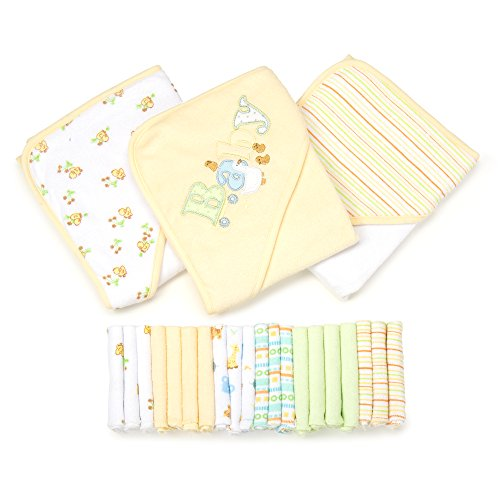 Spasilk 23-Piece Essential Baby Bath Gift Set, Yellow (Piece Layette)