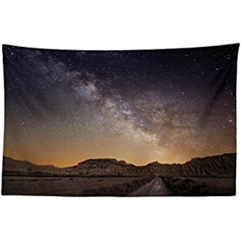Lunarable Night Sky Tapestry, European Vacation Place Spain Milky Way Over The Desert of Bardenas View, Fabric Wall Hanging Decor for Bedroom Living Room Dorm, 45