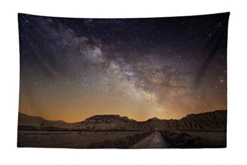 Lunarable Night Sky Tapestry, European Vacation Place Spain Milky Way Over The Desert of Bardenas View, Fabric Wall Hanging Decor for Bedroom Living Room Dorm, 45 W X 30 L Inches, Brown and Dark Blue by Lunarable
