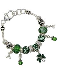 Women's St Patrick's Day Beaded Charm Bracelet Leprechaun Hat Irish Shamrock
