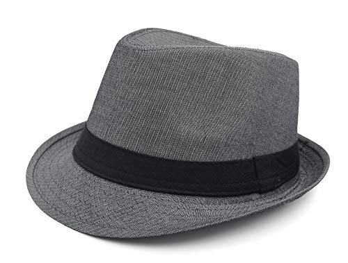 Melesh Unisex Classic Trilby Fedora Hat (Gray-Ren) (Men Fedora Hats For Sale)