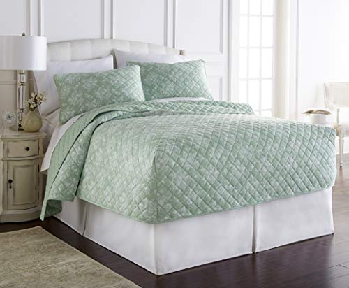 (Thermee Micro Flannel Fitted Quilt Set, Toile Celery Green, King)