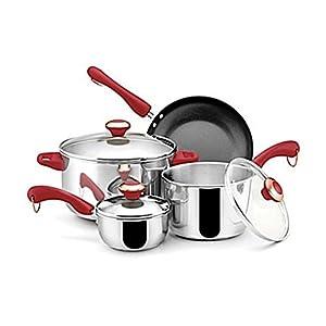 Paula Deen 76749 Stainless Steel Red Handle 7-piece Cookware Set Home & Garden