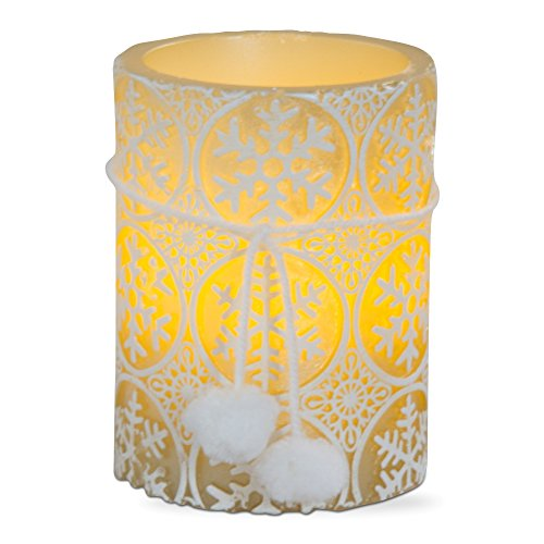 Embossed Pillar Candle (TAG Embossed Snowflakes LED Pillar Candle (3