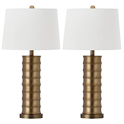 Safavieh Lighting Collection Linus Brass Column Gold 28.5-inch Table Lamp (Set of 2)