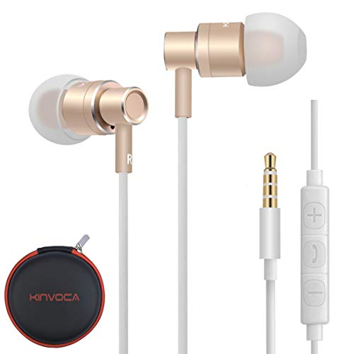 KINVOCA Wired Metal in Ear Earbuds Headphones with Microphon