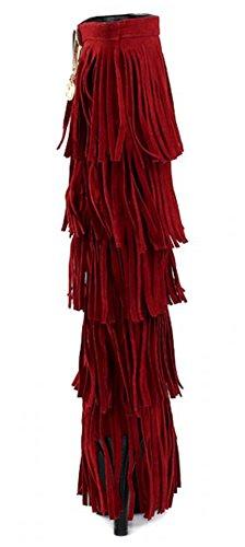 Idifu Mujeres Dressy Capas Fringes Tacones De Aguja Botines De Gamuza Sintética Hasta La Rodilla Botas Rojas