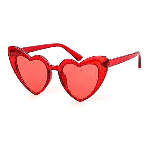 Clout Goggle Heart Sunglasses Vintage Cat Eye Mod Style Retro Kurt Cobain Glasses (Clear Red Glitter) (Glasses Glitter Red)