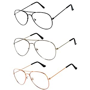 3 Pairs Classic Aviator Style Sunglasses Metal Frame Colored Lens (Clear_Lens_Mix_Blk_Gld_Silv)