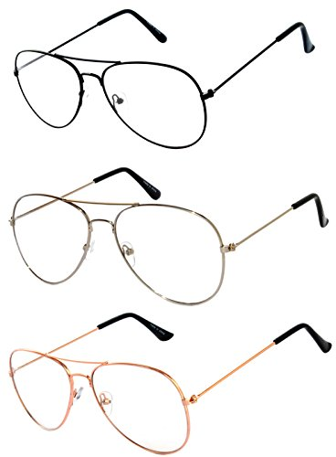 3 Pairs Classic Aviator Style Sunglasses Metal Frame Colored Lens - Clear Glasses Aviator