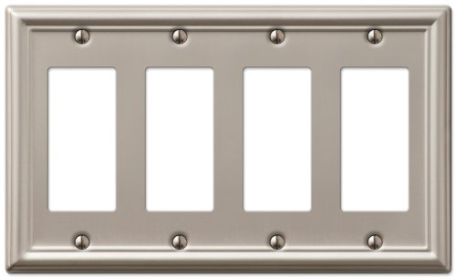 AmerTac 149R4BN Chelsea Steel Quad Rocker-GFCI Wallplate, Brushed (Gfci Quad)