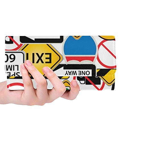 Unique Custom Collage Road Traffic Signs Women Trifold Wallet Long Purse Credit Card Holder Case - Traffic Signs Clipart