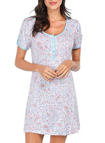 Tshirt Nightgowns for Women, Womens Night Sleep Shirt Pajama Dress, Vneck Paisley Floral X-Large