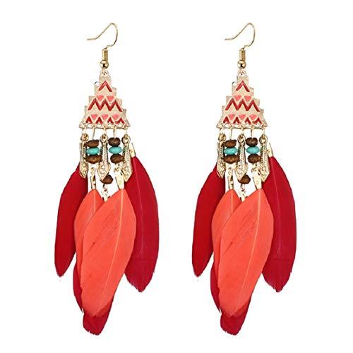 Ethnic Style Feather Drop Dangle Earrings Bohemian Tassels Ear Drop Hawaiian Vacation Beach Party Accessory by Lowprofile Red