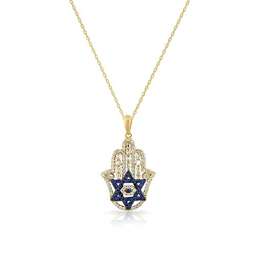 925 Sterling Silver Baguette White Blue CZ Star of David Hamsa Pendant Necklace