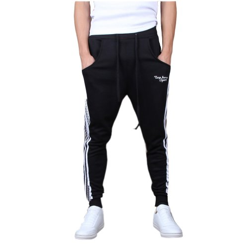 Mooncolour Men's Casual Slim Fit Jogging Harem Pants Black Small