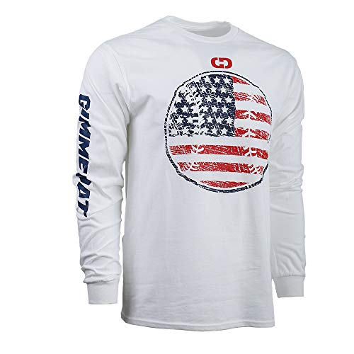 GIMMEDAT USA Softball Baseball Seams Round Long Sleeve Shirt Player Gift Large White