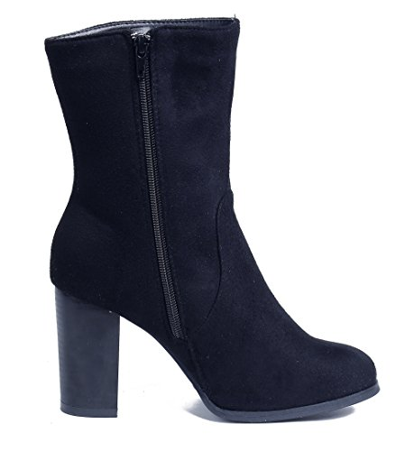 Shoes Mid Pull Boots Calf Boots AgeeMi Black On Ladies High Suede Winter Heel Block ZqwUd8Ea
