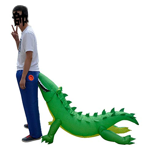 HUAYUARTS Inflatable Costume Crocodile Game Fancy Dress Adult Funny Blow up Suit Halloween Cosplay Outfit Gift, Free Size ()