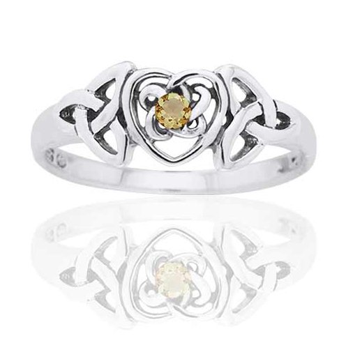 Trinity Glasses (November Birthstone Ring - Sterling Silver Simulated Citrine Glass Celtic Trinity Knot Heart Size 6(Sizes 4,5,6,7,8,9,10))