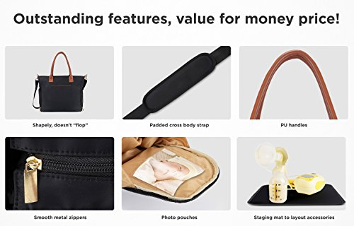 Breast Pump Bag for Work with Rich Tan Handles Staging Mat Sophisticated Design That Suits Workplace Thermally Lined Compartments Perfect Gift for New Moms (Solid Black) by flybold (Image #6)