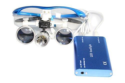Dental Power Dental Binocular Loupes 3.5X 420mm + LED Head Light Lamp +Aluminum Box (Blue)