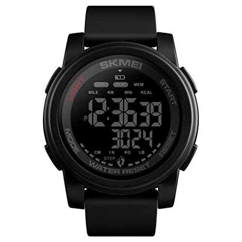 Sport Watch with Pedometer, Toocat Unisex Simple Casual Digital Watch Calorie Counter Mileage Data Storage 50M Waterproof Military Electronic Wrist Watch for Mens Women ()