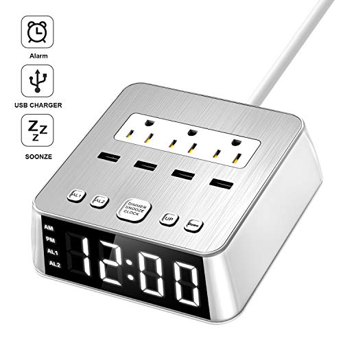 Yostyle Alarm Clock Charger w/4 Surge Protector