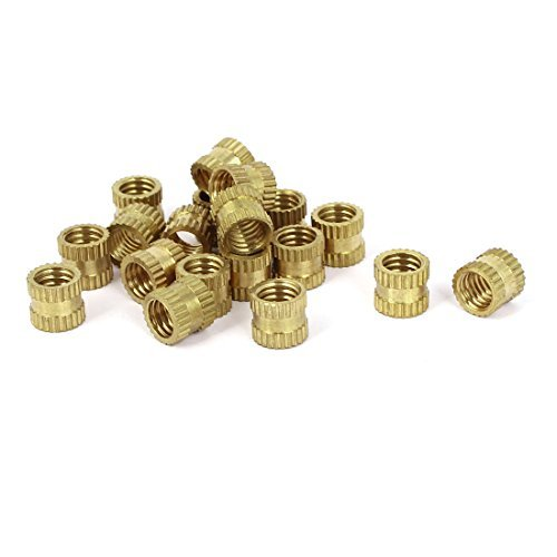DealMux M6x7mm 8mm OD Brass Embedded Knurled Insert Thumb Nuts 20pcs DLM-B01LY0049W
