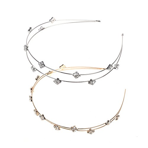 Kloud City Pack of 2 Bridal Crystal Headband Double Layer Tiny Beads Tiara Alloy Hairband Pageant Prom Headpiece
