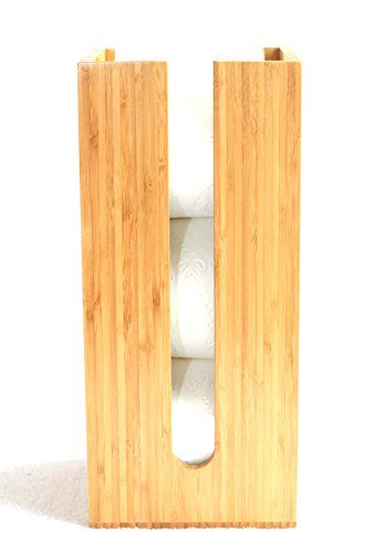 Bamboo Toilet Paper Holder perfect for toilet paper storage or general bathroom storage, a freestanding toilet paper holder handmade from biodegradabl…