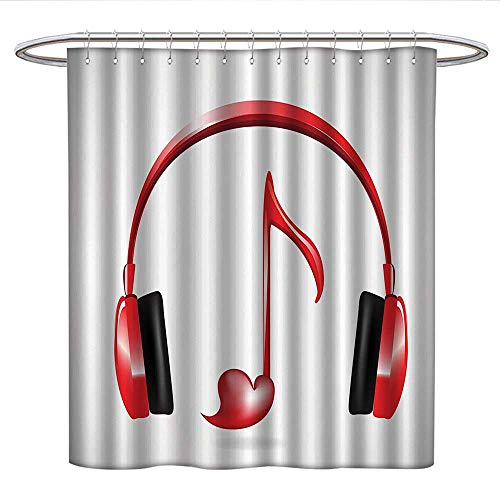 Anshesix Music Decorhookless Shower CurtainLove Sound Headphones With Heart Shaped Key Note Melody Fancy Artful Color
