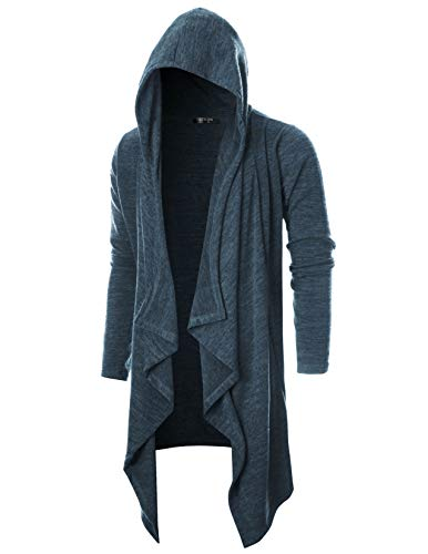 GIVON Mens Long Sleeve Draped Lightweight Ruffle Shawl Collar Cardigan Hooded Cardigan with Pocket/DCC145-DARKCHARCOAL-XL