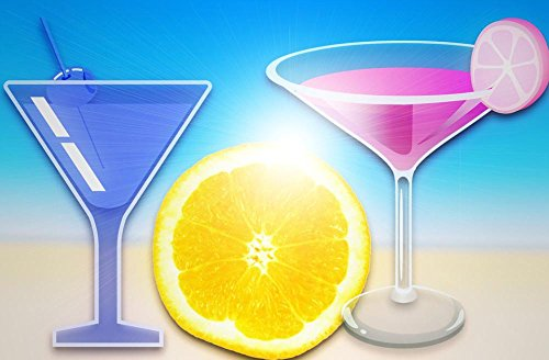 Laminated 36x24 inches Poster: Cocktail Beach Lemon Margarita Martini Drink Alcohol Beverages Liquid Refreshment Cold Lime Glass Celebration Bar Juicy Red