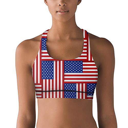 Armsttm Women Racerback Sports Bras National Flags United States America Gym Yoga Bra with Removable Pads