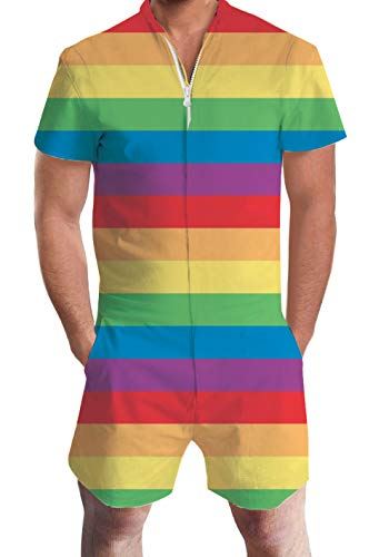 AIDEAONE Male Romper Annual LGBT Gay Pride Celebration Short Sleeve Bro One Piece Jumpsuit Summer Beach Overalls