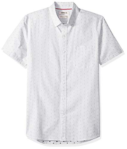 Goodthreads Men's Standard-Fit Short-Sleeve Dobby Shirt, -black stripe dot, Medium Tall
