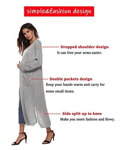 WISREMT Women's Long Sleeve Irregular Split Cardigan Open Front Sweater Pocket (Small, Gray)