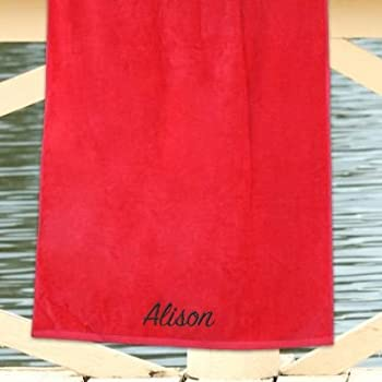 "Personalized Any Name Red 30"" x 60"" Beach Towel, Cotton Loop Terry Fabric"