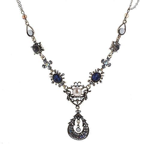 Imitation Pearl Crystal Pendant Necklace Elegant Flower Necklace Women -