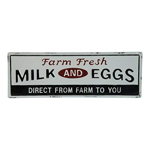 (VIPSSCI Farm Fresh Milk and Eggs Metal Sign Decorative Wall Mounted Kitchen Plaque Art)